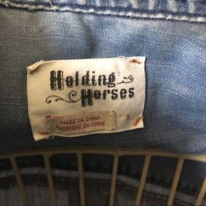 Anthropologie Tops - Anthro Holding Horses Dip Dye Chambray Shirt - 0